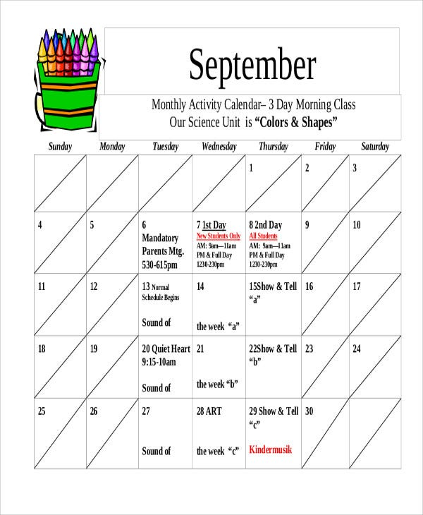 Monthly Activity Calendar