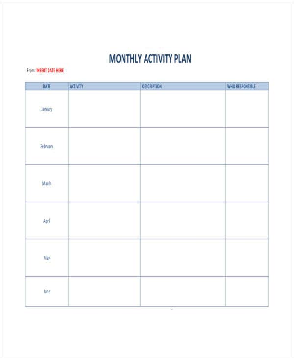monthly activity plan