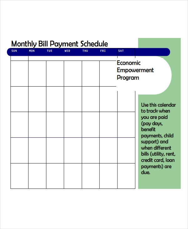 Bill Payment Schedule Templates  Free Samples Examples Format