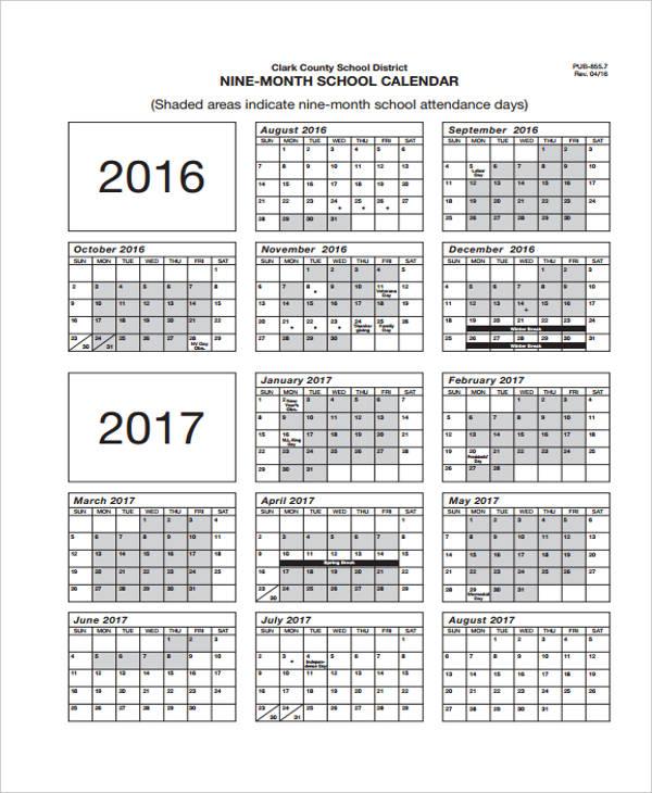 attendance calendar template