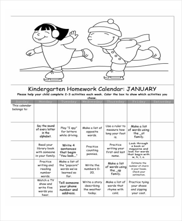 Monthly Homework Calendar Template : Homework calendar templates free sample example