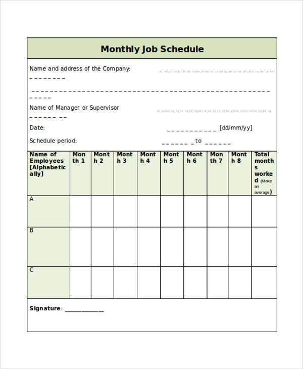 monthly job