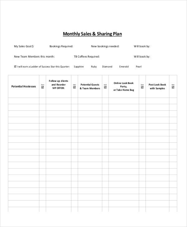 monthly sales target template