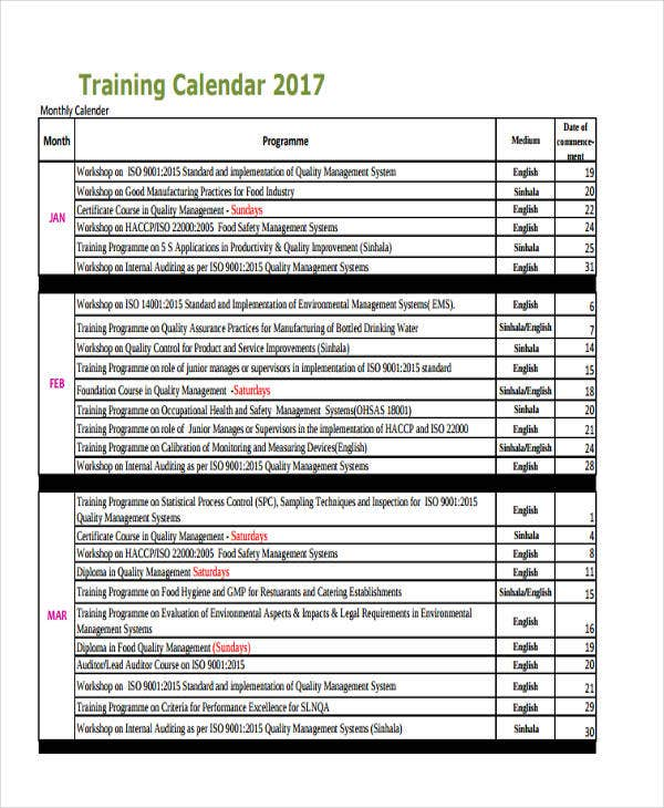 Training Calendar Templates  Free Sample Example Format