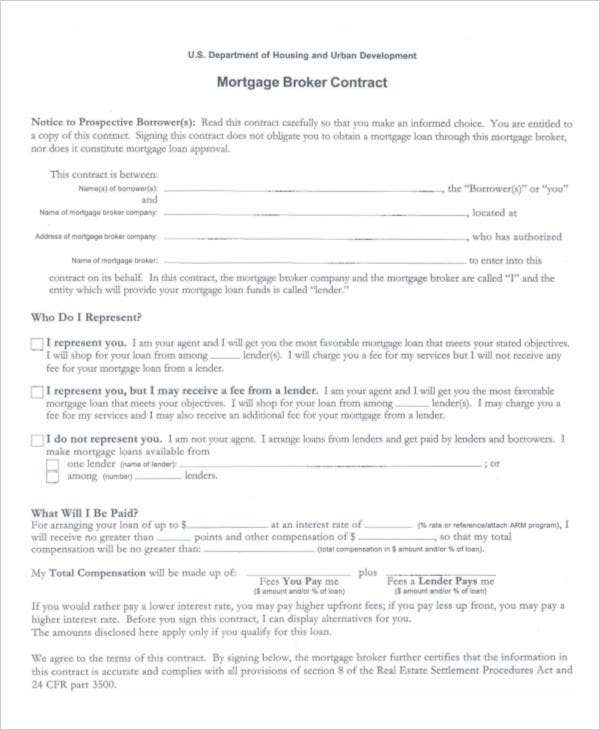 Mortgage Contract Templates 6 Free PDF Format Download – Sample Mortgage Contract
