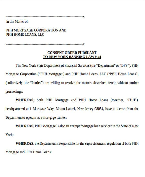 mortgage consent order