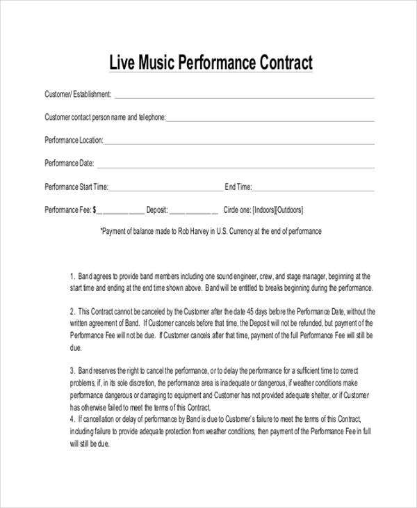 Band performance contract artist booking contract live for Band booking contract template
