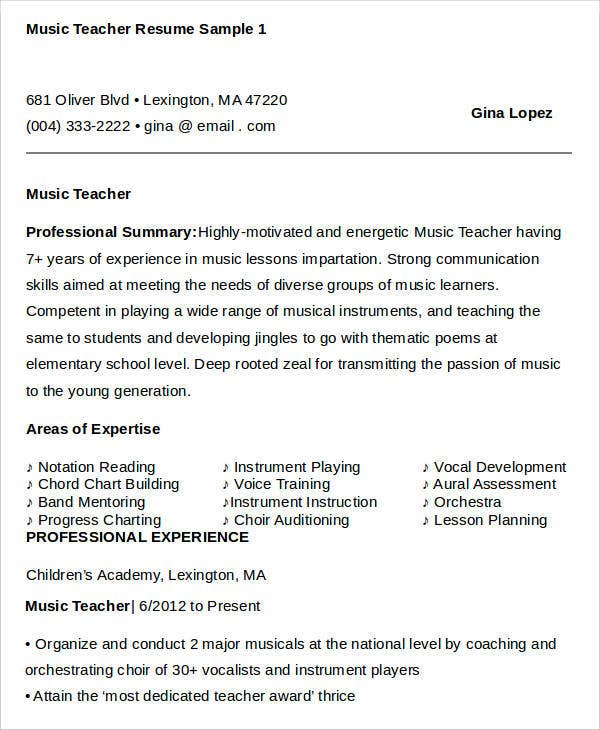 Simple Teacher Resumes  Free Word Pdf Documents Download