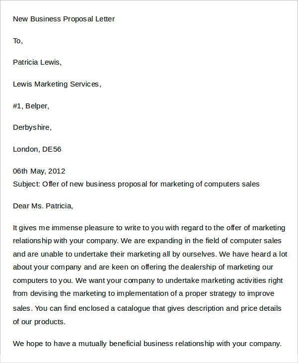 business proposal letter templates - Business Proposal Letter
