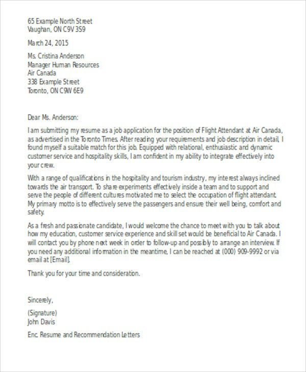 Flight Attendant Cover Letter Templates  Sample Example