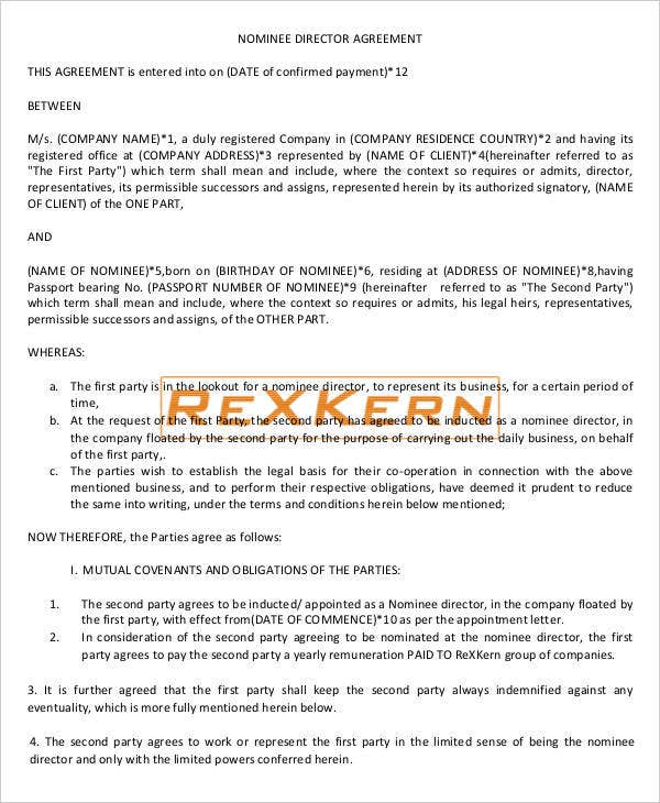 Nominee Director Agreement
