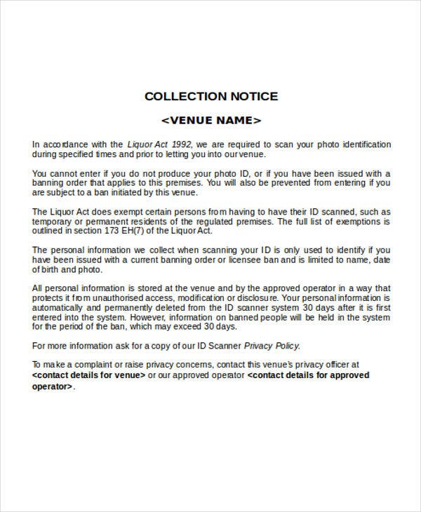 collection notice templates 10 free word pdf format download