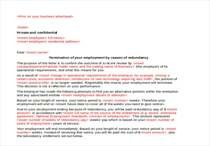 notice to end employment letter