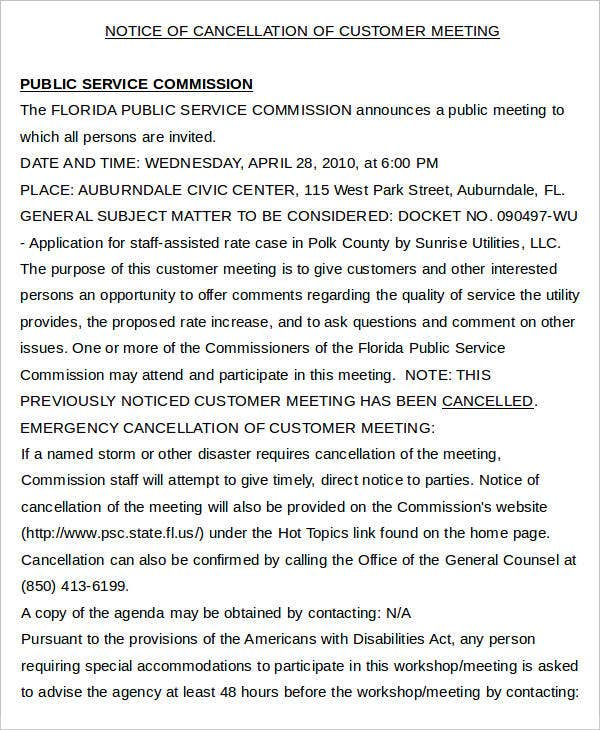 Notice of Cancellation of Customer Meeting