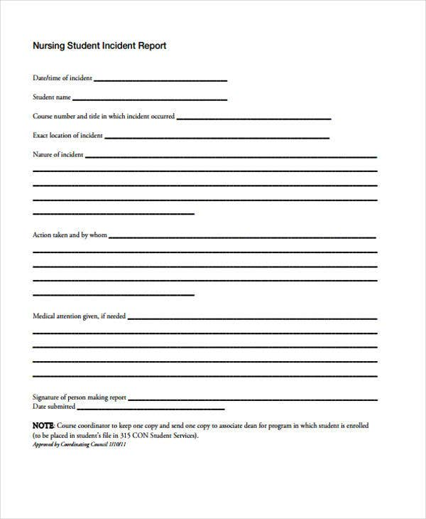 nursing incident report template
