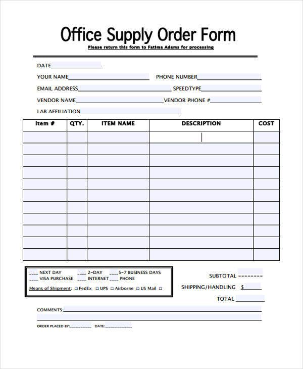 21 free order templates free premium templates for Equipment order form template