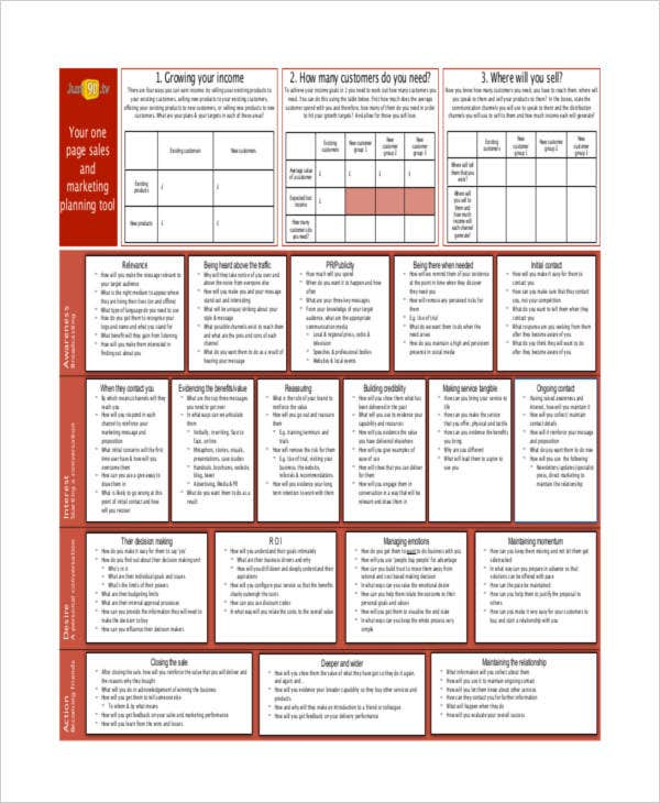 one page sales plan