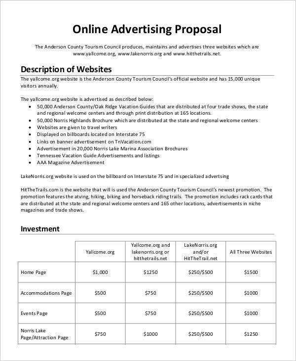 Advertising Business Proposal Templates  Free Sample Example