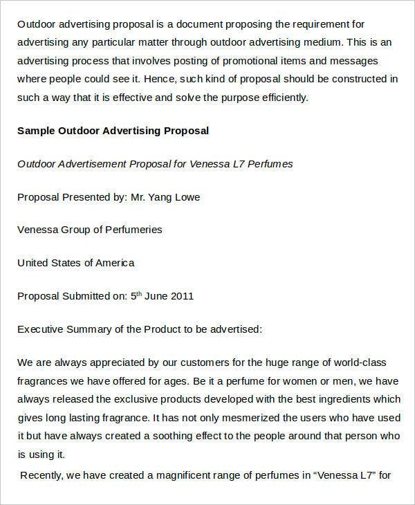 Advertising Proposal Templates  Free Sample Example Format