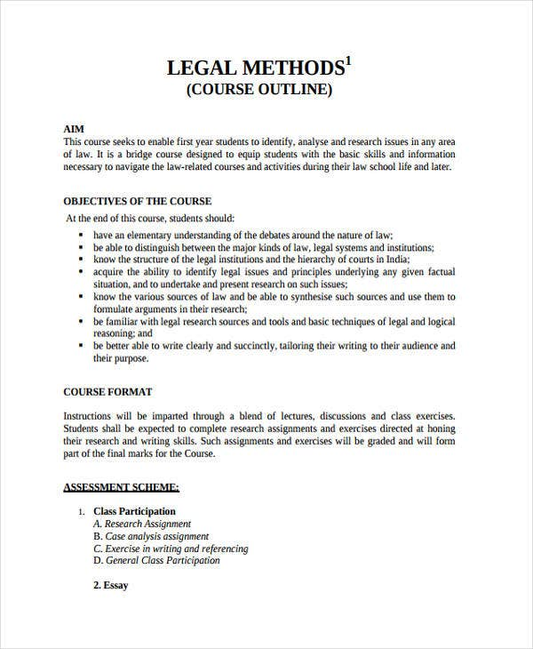 outline for legal course