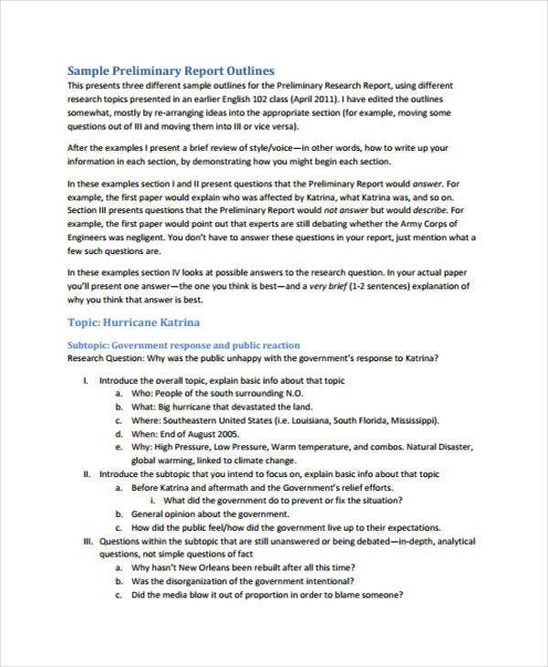 outline preliminary report