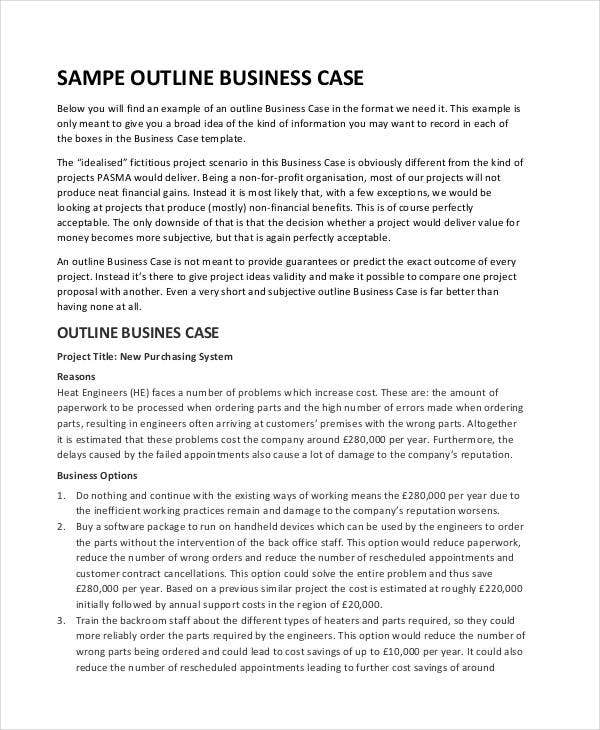 outline for business case