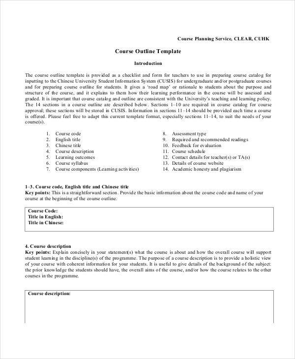 outline for course content