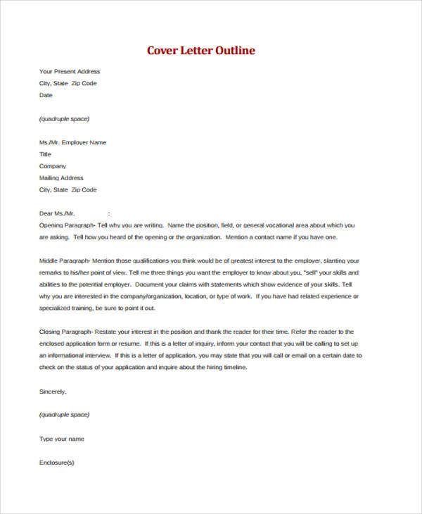 outline of cover letter
