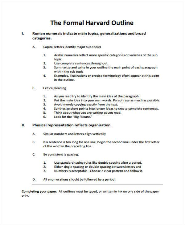 outline of formal harvard