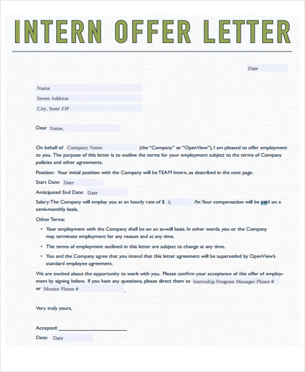 8 Internship Offer Letters Free Samples Examples Format Download