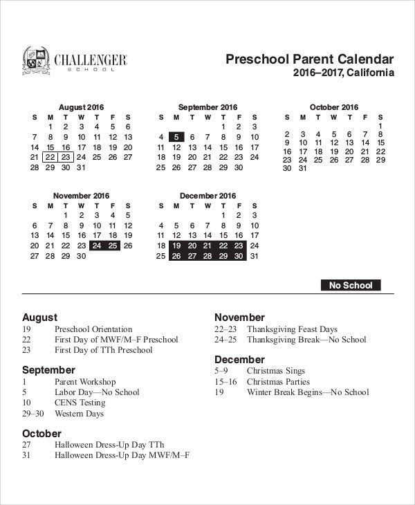 Kindergarten Calendar For Parents : Preschool calendar templates sample examples free
