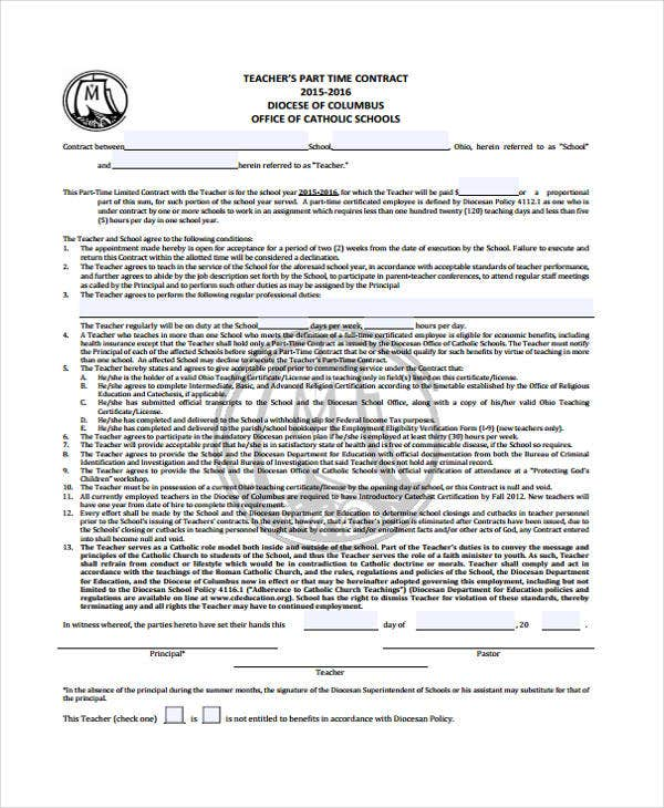 8+ Teacher Contract Templates - Free Word, Pdf Format Download