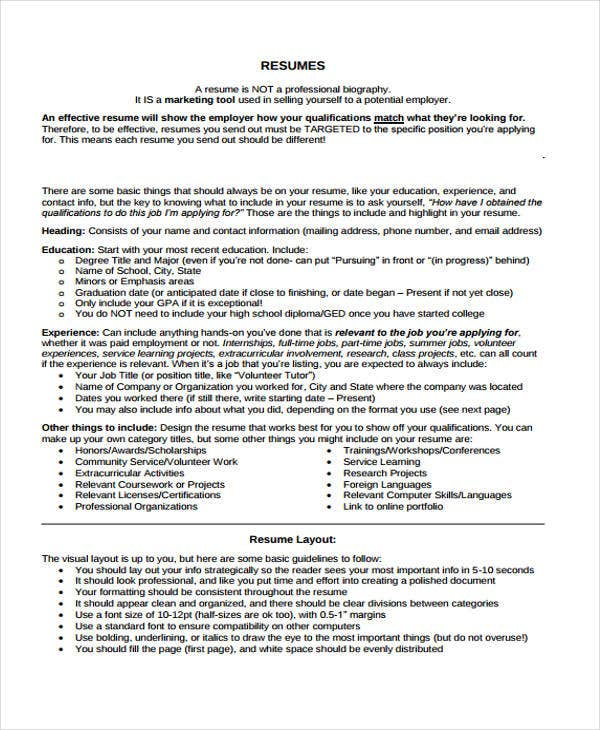 9 Summer Job Resume Templates Pdf Doc Free Amp Premium
