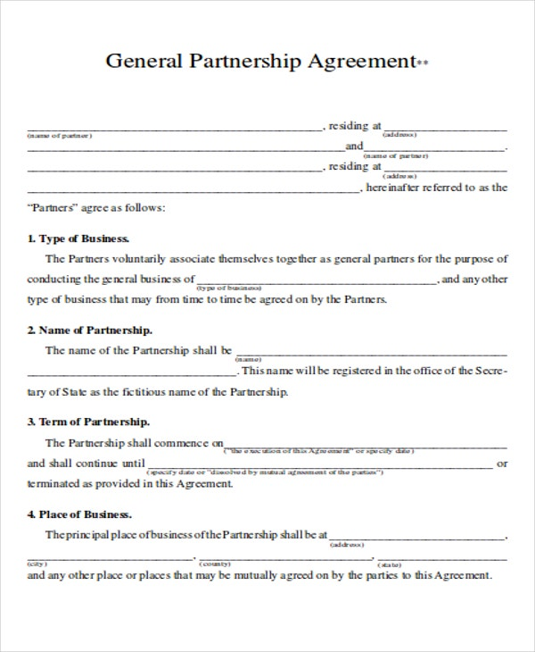 Partnership Contract Templates  Word Pdf  Free  Premium Templates