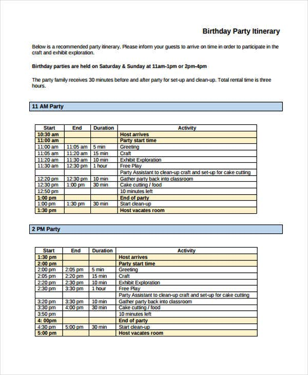 party itinerary sample