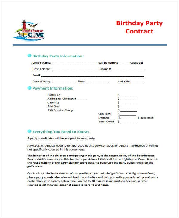 Party Planner Contract. Event Planner Contract Template. Free
