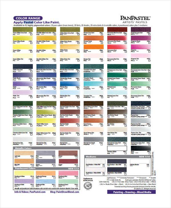 pastel color chart