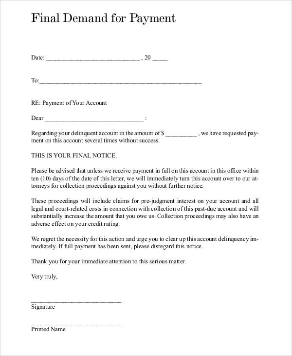 Final Demand For Payment Carrolllibraryorg
