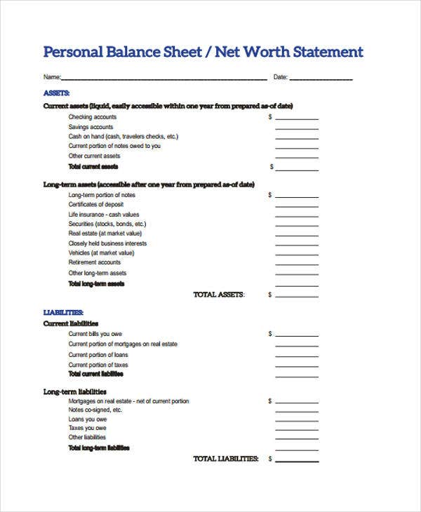 10 Balance Sheet Templates Free Sample Example Format Download – Free Personal Balance Sheet Template