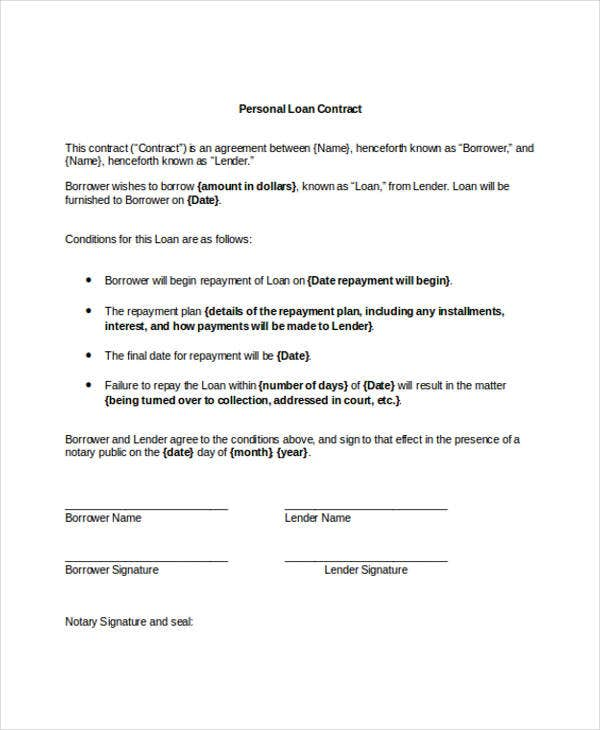 personal loan - Sample Lending Contract