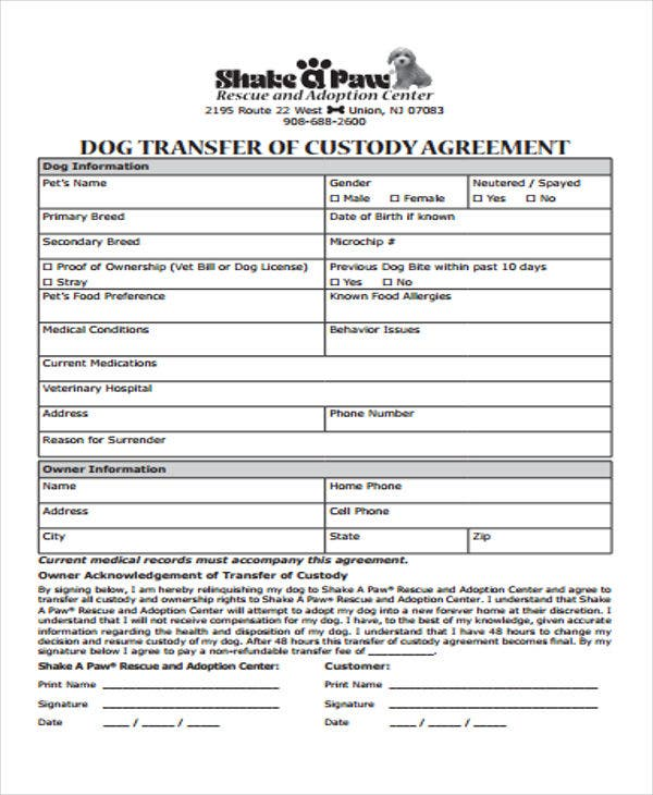 Sample Pet Agreement Between Tenant And Landlord Manager