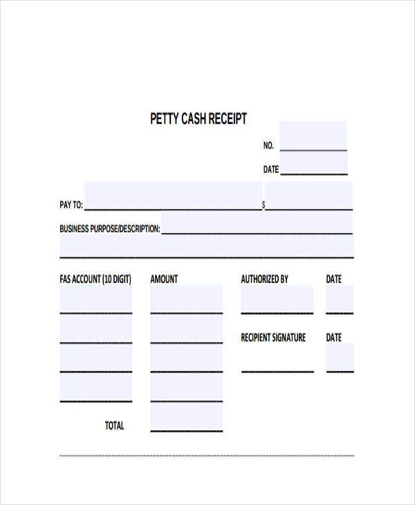 Petty Cash Receipt  Cash Receipt Forms