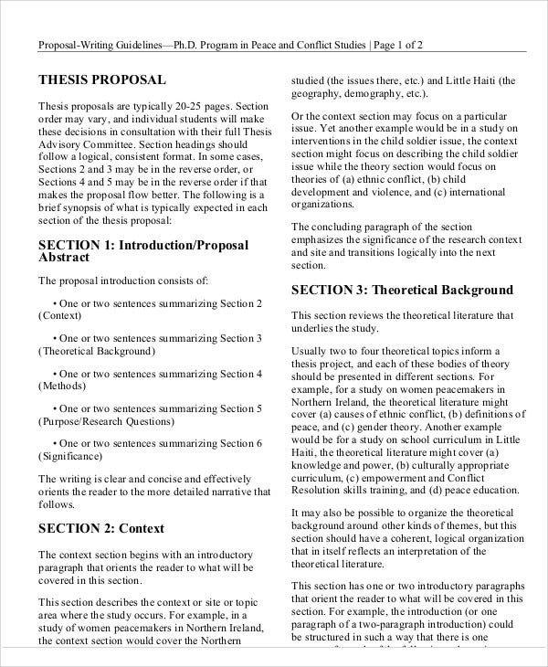 Thesis Proposal Templates 8 Free Word Pdf Format Download Free