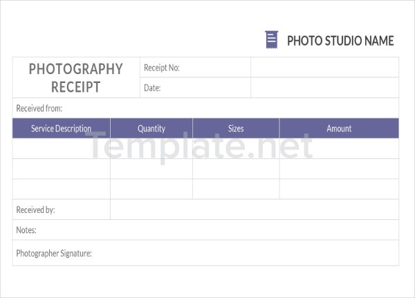 Photography Receipt Templates