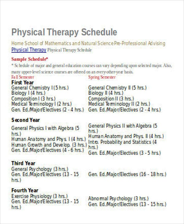 physical schedule