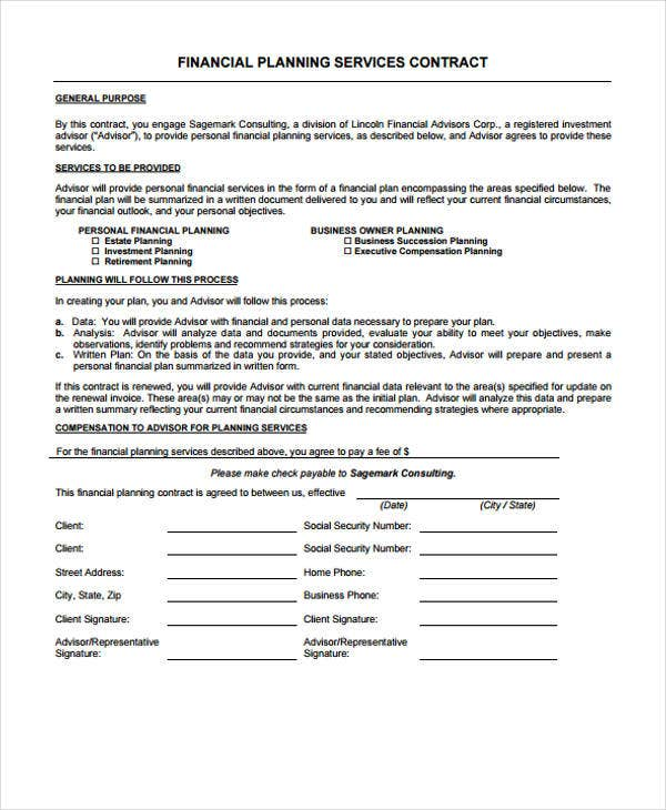 Planner Contract Templates   Free Pdf Format Download  Free