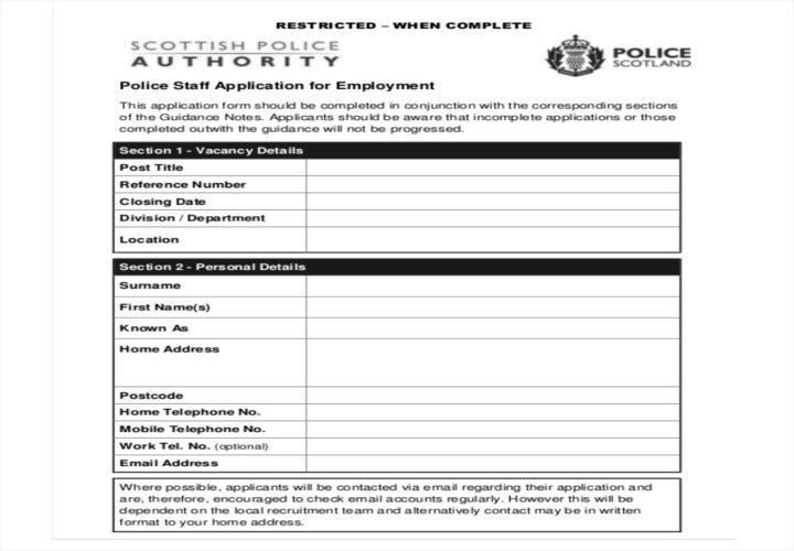 police staff application for employment