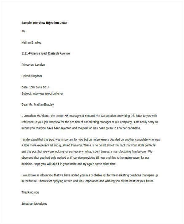 14 polite rejection letter free sample example format download polite interview spiritdancerdesigns Image collections