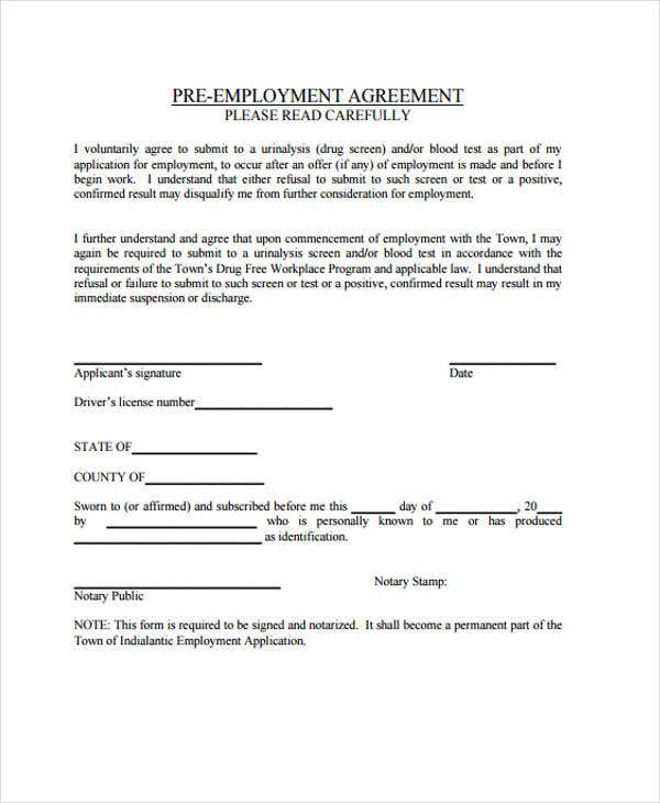 Employment Agreement Templates   Free Pdf Format Download