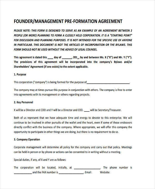 pre formation agreement